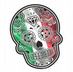 Mexican Day Of The Dead SUGAR SKULL With Italy Italian il Tricolore Flag Motif External Vinyl Car Sticker 120x90mm